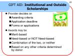gift aid institutional and outside scholarships