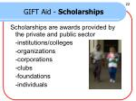 gift aid scholarships