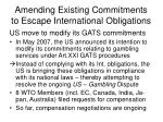 amending existing commitments to escape international obligations