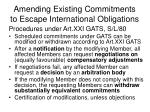 amending existing commitments to escape international obligations15