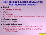 high school courses relevant to continuing in statistics