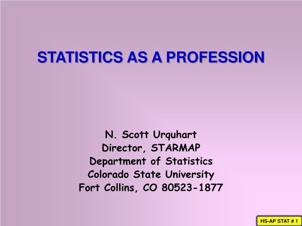 statistics as a profession l.