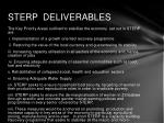 sterp deliverables