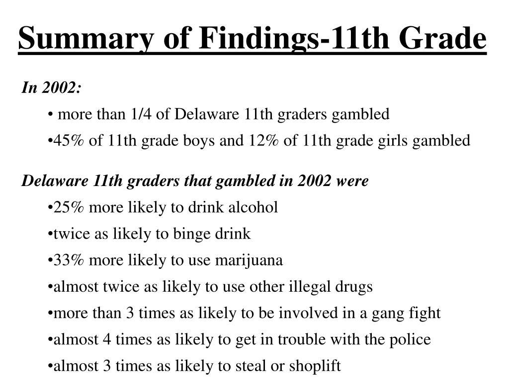 Summary of Findings-11th Grade