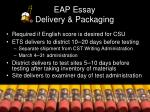 eap essay delivery packaging