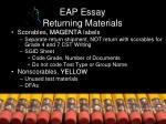 eap essay returning materials