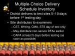 multiple choice delivery schedule inventory