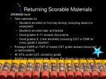 returning scorable materials