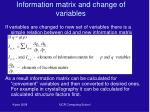information matrix and change of variables