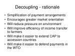 decoupling rationale