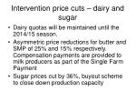 intervention price cuts dairy and sugar