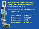 what economic impact will these visitors have on kershaw county revolutionary war site