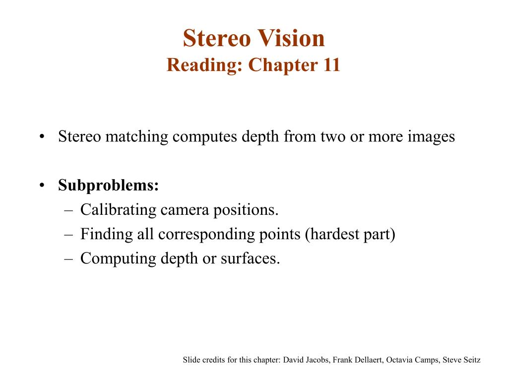 stereo vision reading chapter 11 l.