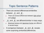 topic sentence patterns