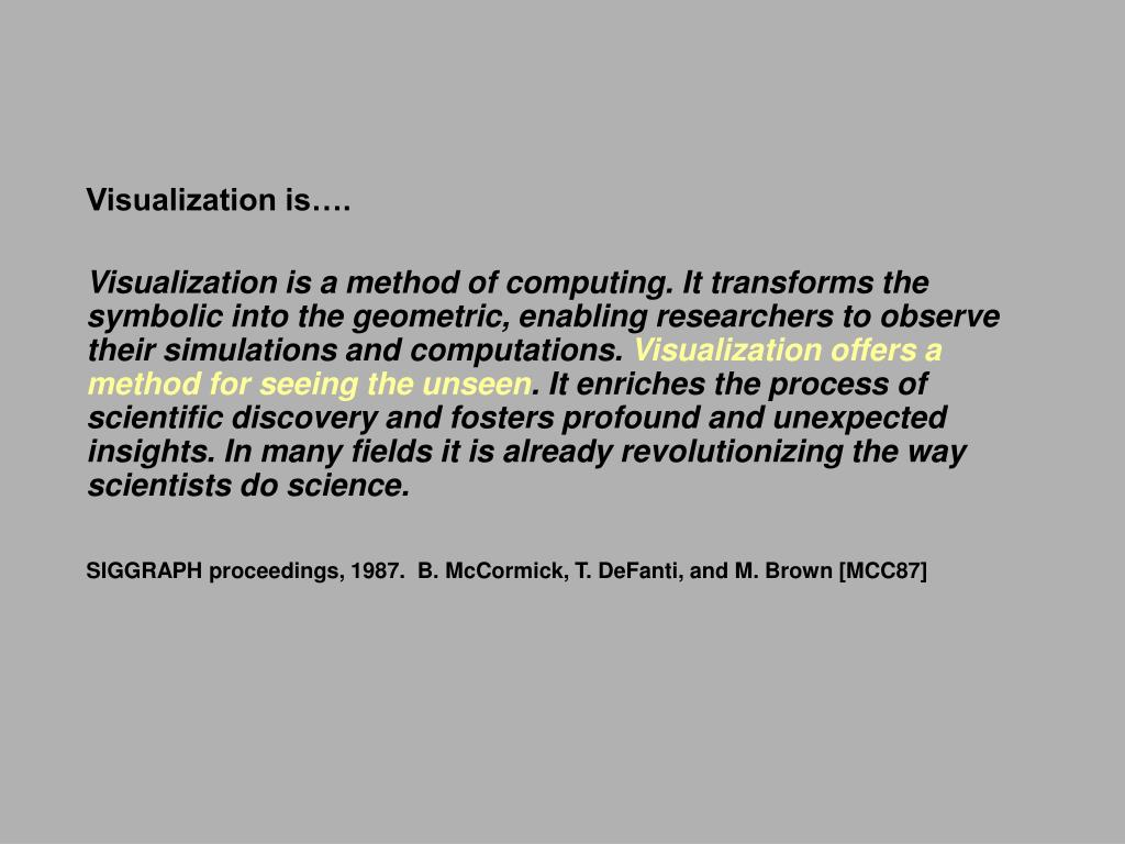 Visualization is….