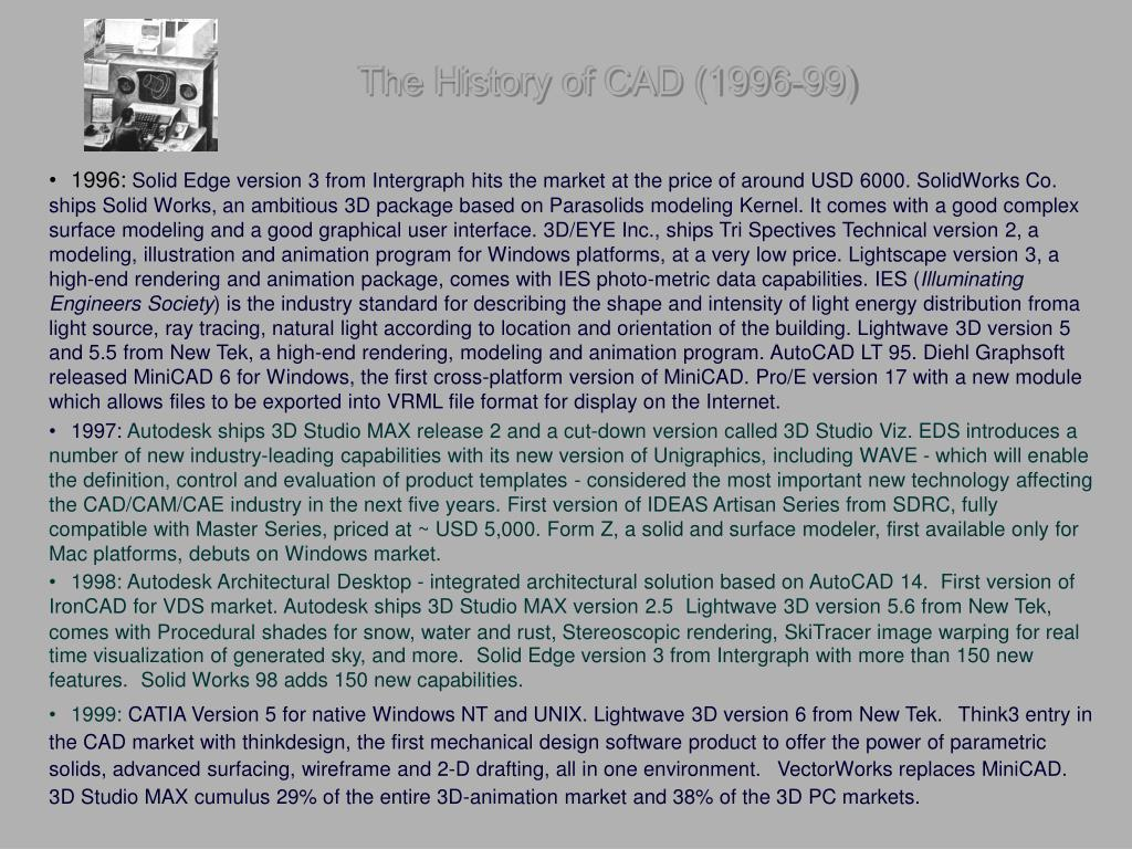 The History of CAD (1996-99)