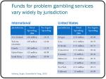 funds for problem gambling services vary widely by jurisdiction