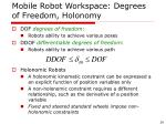 mobile robot workspace degrees of freedom holonomy