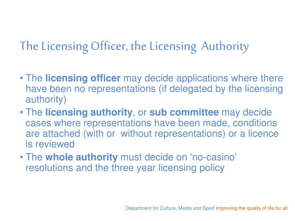 The Licensing Officer, the Licensing  Authority