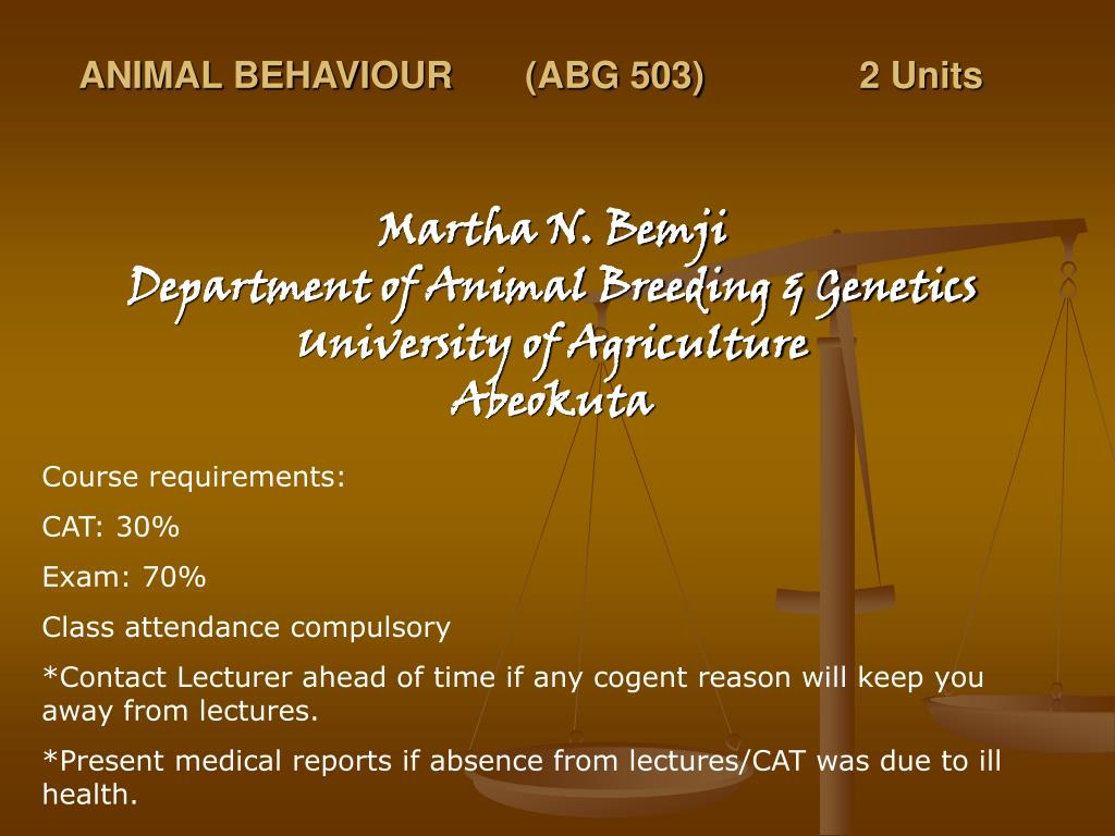 animal behaviour abg 503 2 units l.