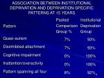 association between institutional deprivation and deprivation specific patterns at 15 years