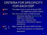 criteria for specificity for each dsp