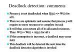 deadlock detection comments