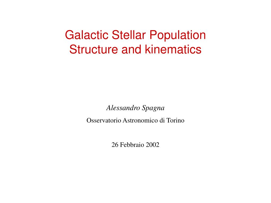 galactic stellar population structure and kinematics l.