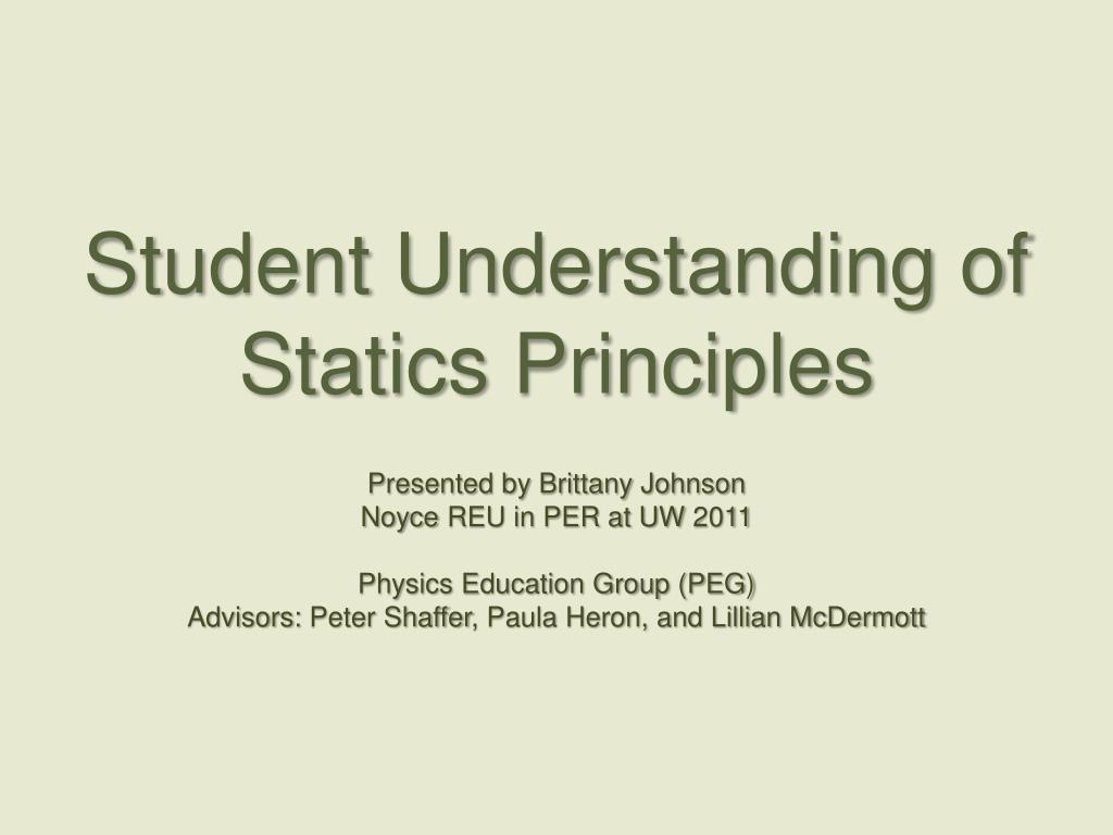 student understanding of statics principles l.