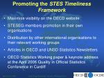 promoting the stes timeliness framework