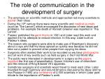 the role of communication in the development of surgery