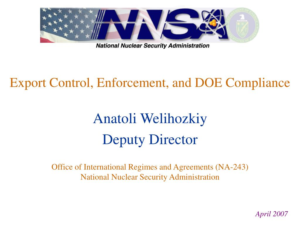 export control enforcement and doe compliance l.