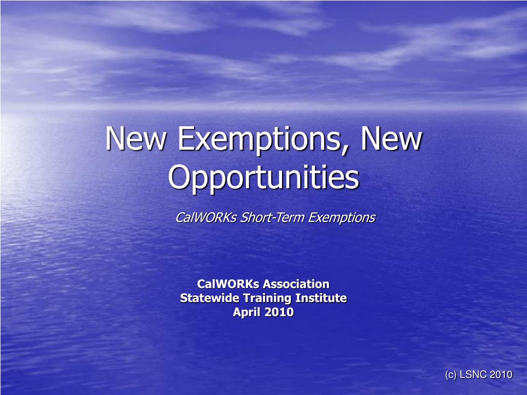 new exemptions new opportunities l.
