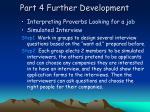 part 4 further development