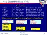 a 2 experiments at hi g s
