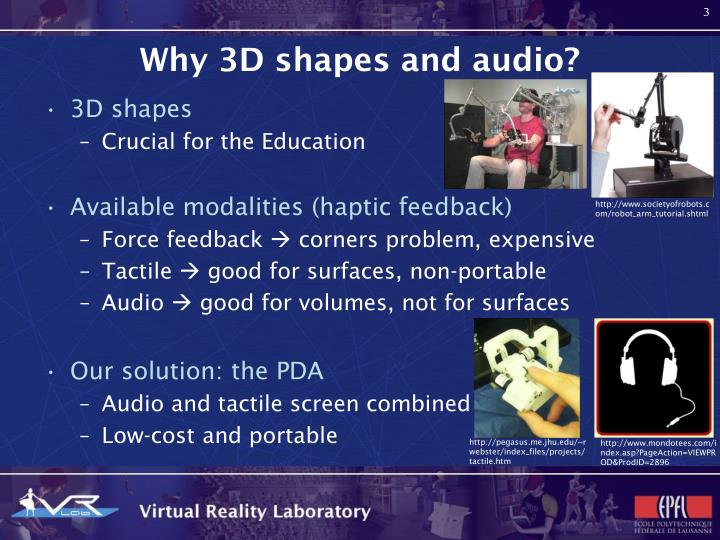 Why 3d shapes and audio