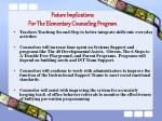 future implications for the elementary counseling program