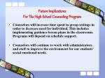 future implications for the high school counseling program