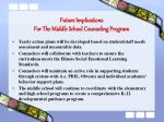 future implications for the middle school counseling program