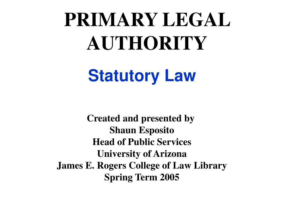 primary legal authority l.