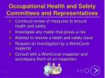 occupational health and safety committees and representatives