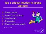 top 5 critical injuries to young workers