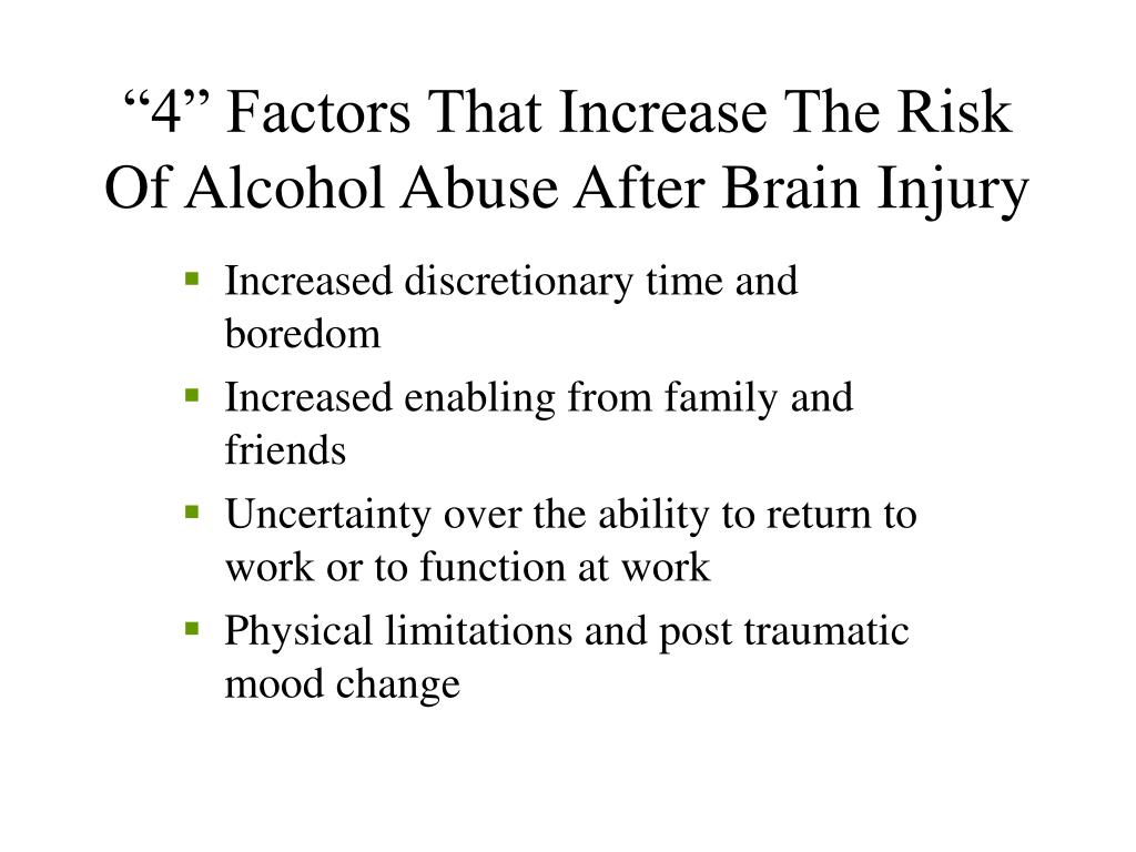 """""""4"""" Factors That Increase The Risk Of Alcohol Abuse After Brain Injury"""