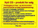 nytt cd produkt for salg
