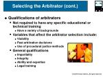 selecting the arbitrator cont16
