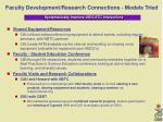 faculty development research connections models tried