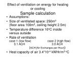 effect of ventilation on energy for heating or cooling sample calculation