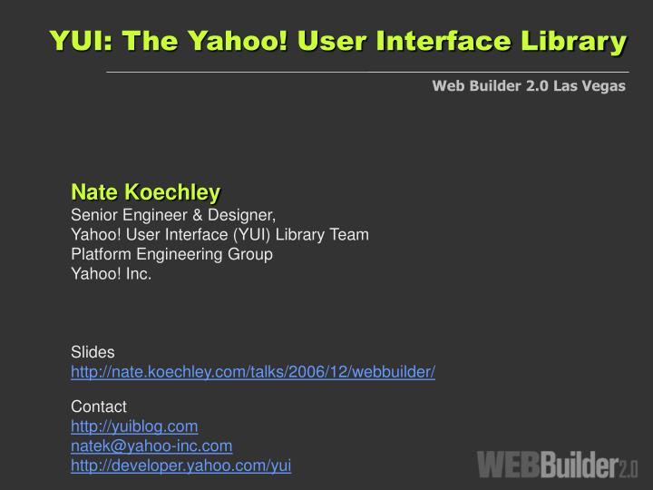 yui the yahoo user interface library n.