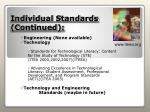 individual standards continued