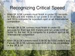 recognizing critical speed